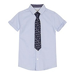 RJR.John Rocha - 'Boys' pale blue short sleeve shirt and shark textured tie set