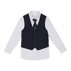 RJR.John Rocha - 'Boys' navy short sleeve shirt, grey striped linen blend waistcoat and tie set