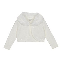 RJR.John Rocha - Girls' ivory faux fur collar cardigan