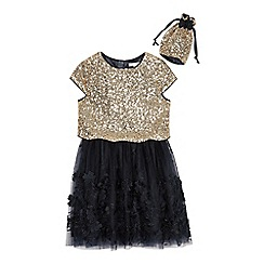 RJR.John Rocha - Girls' Navy Sequin Embellished Dress and Bag