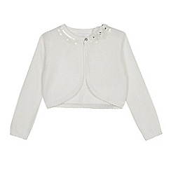 Occasions - Girls' Ivory Floral Applique Sequin Embellished Cardigan