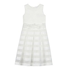Occasions - Girls' Ivory Burnout Stripe Dress