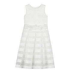 Occasions - Girls' Ivory Burnout Stripe Dress