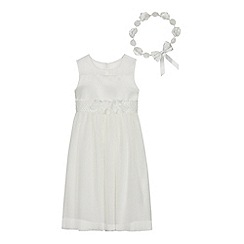 Occasions - Girls' Ivory Pleated Corsage Dress with Garland Headband
