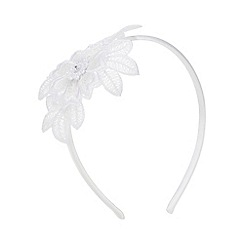 Occasions - Girls' White Floral Embroidered Headband
