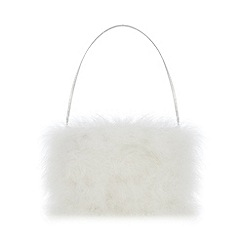 Occasion - Girls' Ivory Faux Fur Marabou Bag