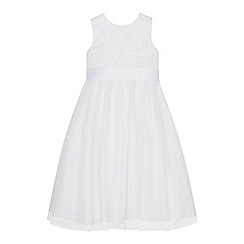 Occasions - Girls' White Floral Embroidered Mesh Dress