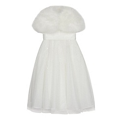 Occasions - Girls' Ivory Floral Lace Dress with Feather Marabou Cape
