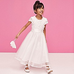 Occasions - Girls' Ivory Floral Bodice Dress and Bag