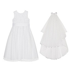 Occasions - Girls' White Floral Embroidered Mesh Dress and Veil Set