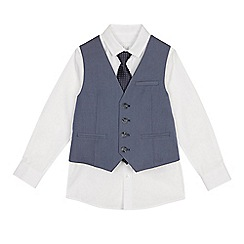 Occasions - Boys' white shirt, textured waistcoat and tie set
