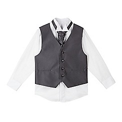 RJR.John Rocha - Boys' white shirt, grey waistcoat and tie set