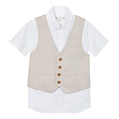 RJR.John Rocha - Boys' beige striped waistcoat and shirt