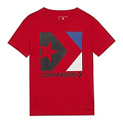 Converse - Boys' Red Colour Block Logo Print T-shirt