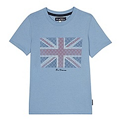 Ben Sherman - Kids' blue flag print cotton t-shirt
