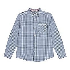 Ben Sherman - Kids' blue gingham check long sleeve shirt