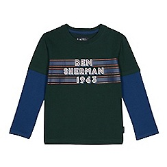 Ben Sherman - Kids' dark green '1963' logo print mock top