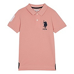 U.S. Polo Assn. - Kids' pink cotton polo shirt