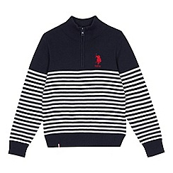 U.S. Polo Assn. - Kids' navy stripe half zip cotton sweater