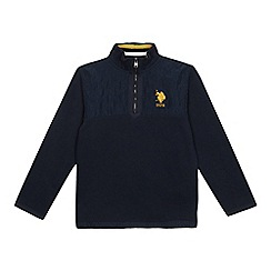 U.S. Polo Assn. - Boys' Navy Quilted Zip Neck Sweater