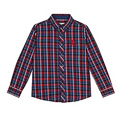 U.S. Polo Assn. - Kids' blue and red checked long sleeve shirt