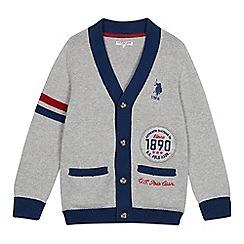 U.S. Polo Assn. - Boys' grey logo applique cardigan