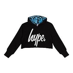 Hype - Kids' Black Logo Print Cropped Hoodie
