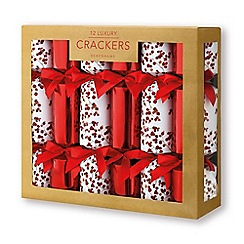 debenhams pack of 12 luxurious red and white berry crackers