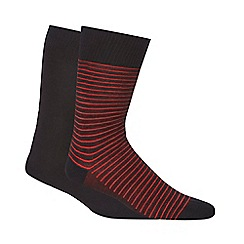 Levi's - Pack of two black and red striped ankle socks