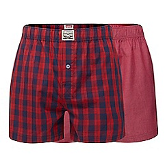 Levi's - Pack of two red checked woven boxers