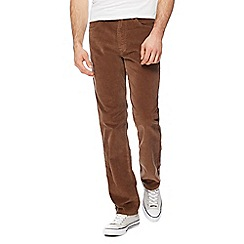 Wrangler - Big and tall tan 'arizona' corduroy straight leg trousers