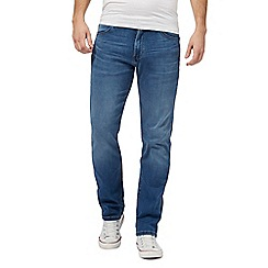 Wrangler - Big and tall blue 'arizona beyond' mid wash straight leg jeans