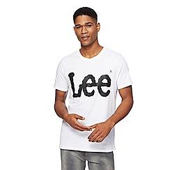 Lee - White logo print t-shirt