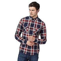 Lee - Navy checked long sleeve shirt
