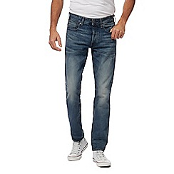 G-Star - Blue '3301' vintage wash tapered jeans
