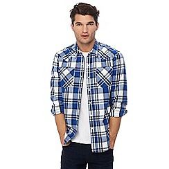 Levi's - Navy and white checked 'Barstow' western shirt