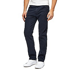 Wrangler - Navy straight fit twill trousers