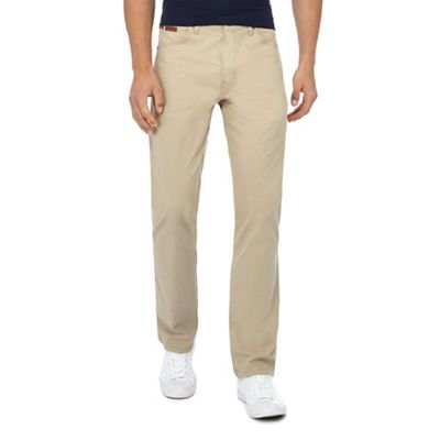Wrangler   Beige 'arizona' Straight Leg Chino Trousers by Wrangler