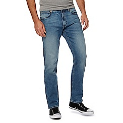Wrangler - Blue 'Greensboro' mid wash straight leg jeans