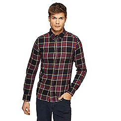 Wrangler - Navy checked slim fit shirt