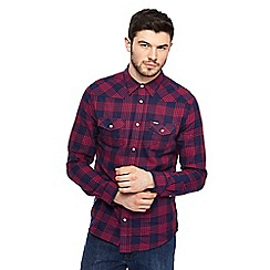 Wrangler - Navy and red checked western shirt