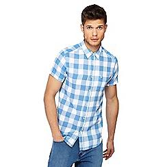 Wrangler - Blue checked short sleeve shirt