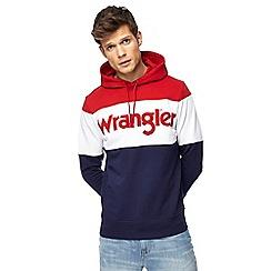 Wrangler - Multi-coloured block striped logo hoodie