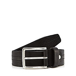 Wrangler - Black leather double stitch belt