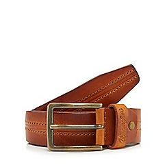 Wrangler - Tan leather double stitch belt