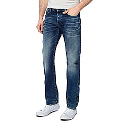 G-Star - Blue whiskered mid wash '3301' straight jeans