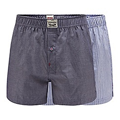 Levi's - 2 pack blue plain and striped cotton boxers