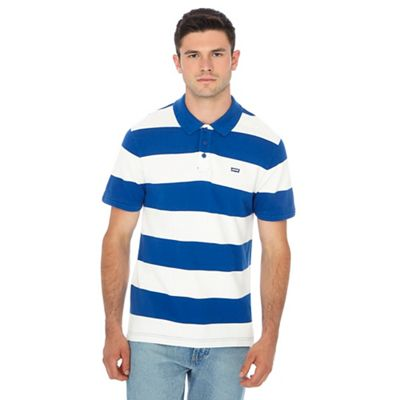 levi's blue stripe print polo shirt
