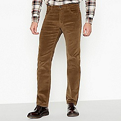 Wrangler - Big and tall tan corduory 'arizona' straight fit trousers