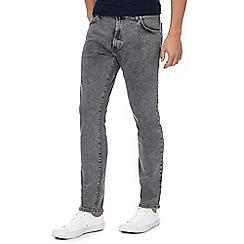 Wrangler - Grey bleach wash 'Larston' slim tapered jeans